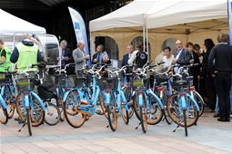 Blue bikes provided for the bike tours offered to visitors and conducted by ProVelo