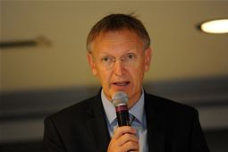 EU Environment Commissioner Janez Potocnik speaks during the opening ceremony of Sustainable2Wheels
