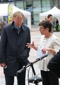 Annick Roetynck, Secretary General of ETRA guides EU Commissioner Janez Potocnik around the Sustainable2Wheels exhibition