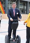 Toine Manders, MEP, test-rides the Segway